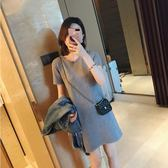 GG house短袖針織裙女中長款韓版圓領灰色打底長T恤