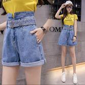 【GZ52】韓版高腰牛仔短褲修身開叉牛仔寬褲牛仔褲