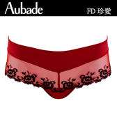 Aubade-珍愛緞面M-L立體蕾絲平口褲(紅)FD