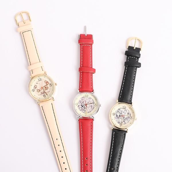 【日貨J-axis手錶WD-B02塗鴉風】Norns 迪士尼皮革錶帶 日本機芯 Sunflame 小熊維尼 米奇米妮 聖誕節禮物