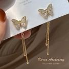 韓國東大門滿鑽蝴蝶氣質款流蘇一款兩戴耳飾...