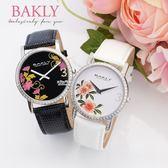 【完全計時】手錶館│BAKLY 都會時尚簡約對錶 BAS6020T 花卉 瑞士機芯/水晶鏡面晶鑽 禮物