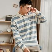 唐獅秋季新款長袖T恤男青少年條紋翻領純棉polo打底衫學生潮 伊衫風尚