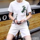 棉麻短袖亞麻套裝男夏季新款短袖t恤男青年中國風刺繡兩件套 科炫數位