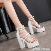 韓版白色粗跟女鞋15cm公分超高跟鞋防水台夜店風涼鞋恨天高女涼鞋  格蘭小舖