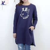 【秋冬新品】American Bluedeer - 印花鹿內刷毛長版T 二色