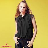 【SHOWCASE】絨點前扣蕾絲袖荷葉上衣(黑)