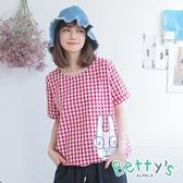 betty's貝蒂思 眼鏡兔格紋圓領上衣(紅色)
