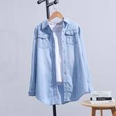 牛仔襯衫女2020春秋新款中長款韓版寬鬆復古大碼長袖學生上衣外套