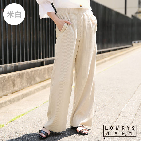 LOWRYS FARM素色腰部抽繩彈性棉質長寬褲-三色