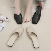 半拖鞋包頭半拖鞋女粗跟時尚新款懶人鞋防滑奶奶鞋薄底外穿一腳蹬潮  【快速出貨】