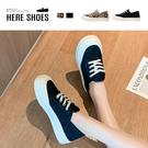 [Here Shoes]3cm休閒鞋 休閒復古百搭素面/豹紋 布面厚底綁帶圓頭包鞋-KW2116