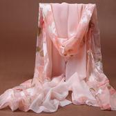女士秋冬長款雪紡保暖圍巾韓版拼接印花絲巾