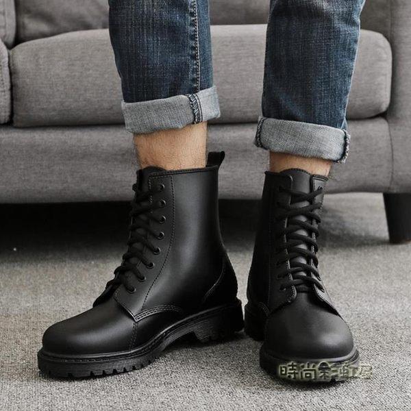 夏季時尚雨鞋男 馬丁雨靴 男士防滑透氣水靴膠鞋雨鞋短筒成人「時尚彩虹屋」