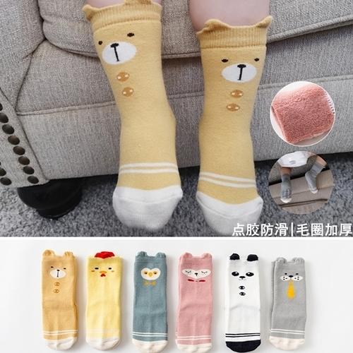 童襪 寶寶保暖加厚中筒毛圈襪點膠防滑 B7B026 AIB小舖