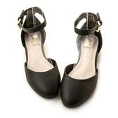 amai典雅素面金屬扣平底瑪莉珍鞋 黑