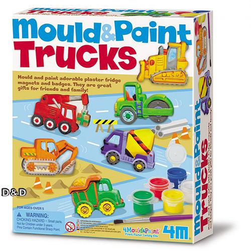 《 4M美勞創作 》Mould & Paint Glitter Springtime Friends 建築工程車磁鐵  ╭★ JOYBUS玩具百貨