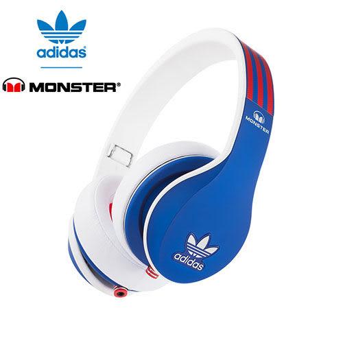 美國 Monster x adidas 聯名限量版耳罩式耳機(紅藍),公司貨,附保卡,一年保固