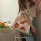 韓系一片橘子插畫文藝單肩帆布包購物袋學生...