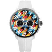 Tendence 天勢表 Gulliver 千鳥格紋立體刻度計時手錶-彩色x白/51mm TY046013