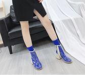 馬丁靴     透明鞋馬丁靴子女歐美粗跟白色短靴高跟涼靴雨靴    瑪麗蘇