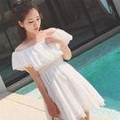 (全館一件免運)DE shop -性感一字娃娃領短袖蕾絲洋裝 【PP - 3103】