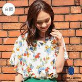 GLOBAL WORK女花朵滿版V領立領落肩矩形寬袖短袖上衣襯衫-五色