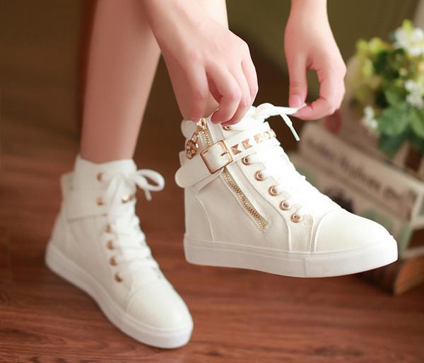 DE shop - 鉚釘骷髏頭帆布鞋側拉鍊高筒鞋靴 35-40號【CC - 1223】