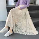 超仙垂墜感半身裙中長款女鉤花蕾絲宮廷風時尚超大擺遮胯網紗裙子 韓國時尚週