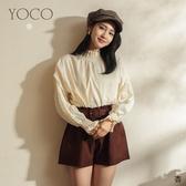 東京著衣【YOCO】青春百搭微高領素色拼接雕花袖上衣(191689)