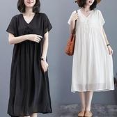 洋裝 中大尺碼女裝 2021夏裝新款文藝復古寬鬆大碼胖MM顯瘦V領短袖中長款連身裙