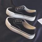 2021年春季新款帆布鞋女鞋子百搭韓版一腳蹬懶人鞋厚底小白鞋 露露日記