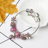 串珠手鍊 花形鑲鑽手鍊 水晶大孔珠 diy小飾品《印象精品》yq156