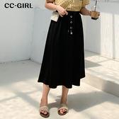 中大尺碼  黑色排釦抽繩長裙 - 適XL~4L《 68408 》CC-GIRL