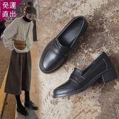 樂福鞋-小皮鞋女英倫風2019新款春季春款一腳蹬黑色中跟樂福鞋粗跟單鞋【快速出貨】