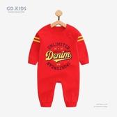 女嬰兒連身裝滿月新生兒衣服紅色純棉寶寶哈衣秋季新款韓版男童裝