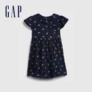 Gap女幼童 柔軟條紋圓領短袖洋裝 671318-海軍藍