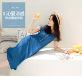 《DA7662》涼感柔滑排釦後鬆緊無袖洋裝--適 XL~5L OrangeBear