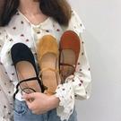 單鞋女絨面森女娃娃鞋 復古韓版平底淺口仙女豆豆鞋 超值價