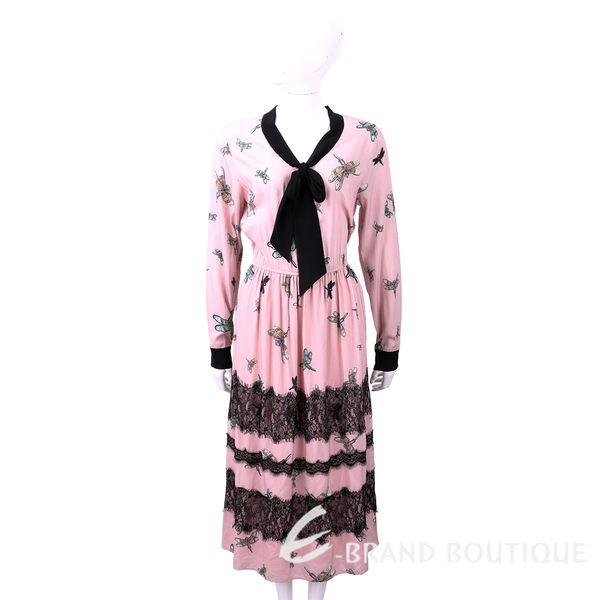 BLUGIRL-FOLIES 蕾絲細節粉色蜻蜓印花絲質洋裝 1810183-05