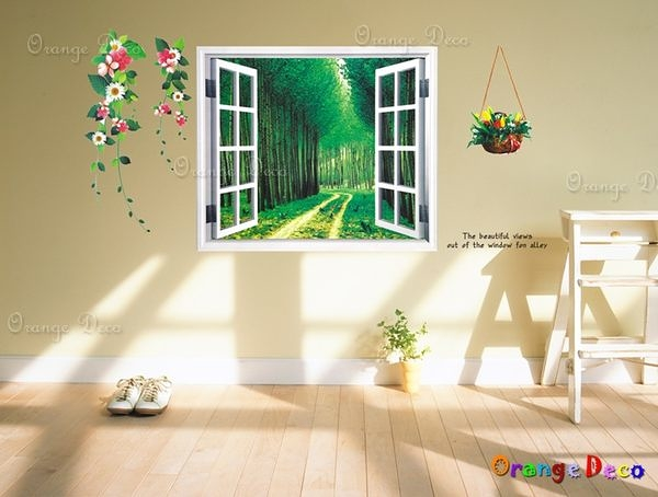 壁貼【橘果設計】窗外樹林 DIY組合壁貼/牆貼/壁紙/客廳臥室浴室幼稚園室內設計裝潢