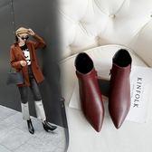 丁果、大尺碼女鞋34-46►歐美明星款蛇紋拼接尖頭貓跟短靴中跟踝靴子*2色