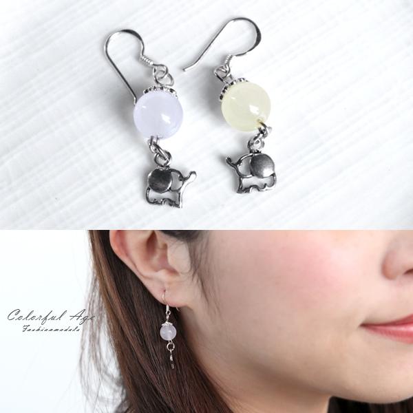 銀飾 摩根石小象勾式耳環NPED16