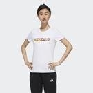 adidas logo 短袖 短T 休閒 運動 女款 白 夏威夷 椰樹 圖案 FT2918