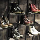 馬丁靴短靴英倫風學生正韓百搭平底粗跟復古春季2018高筒潮【巴黎世家】