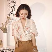 夏季新款復古風仙鶴印花圖案西裝領寬鬆短袖襯衣上衣女花間公主