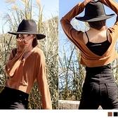 純色磨毛短版挖空外搭罩衫上衣 OrangeBear《AB14121》
