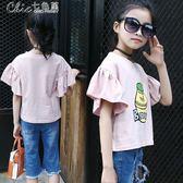 童裝女童上衣裝短袖T恤女寶寶寬鬆休閒打底衫半袖洋氣t「Chic七色堇」