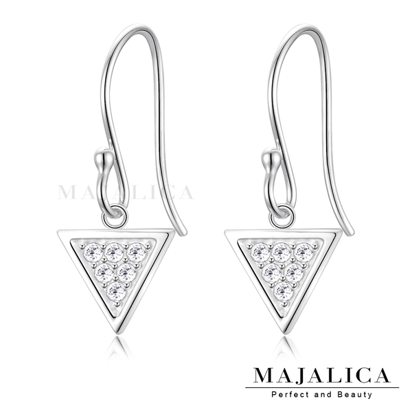 Majalica純銀耳環女款幾何元素三角形勾式垂墜滿鑽通體925銀生日耶誕送禮推薦PF8063