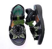 (零34-37.39)MODO.牡丹之戀/立體電繡 -THE ONE 氣墊鞋/涼鞋(全牛皮)-P58107 黑